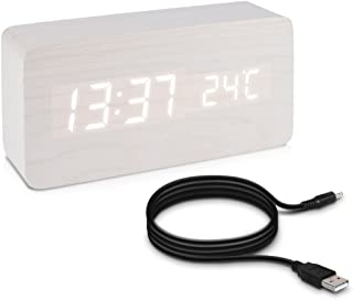 kwmobile Reloj digital de madera - despertador con función de hora fecha temperatura - reloj despertador con cable USB en blanco con LEDs blancas