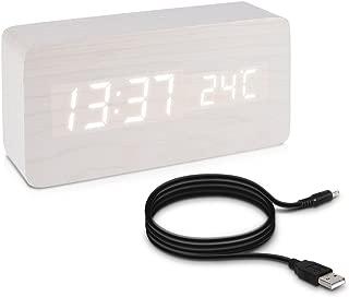 JINZHAO Alarm Clock, Qualified Digital Wooden LED Alarm Clock Wood Retro Glow Clock Desktop Table Decor Voice Control Snooze Function Desk Tools