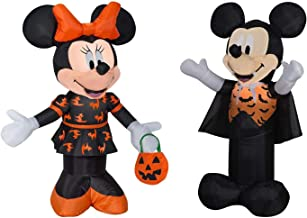 Mickey Mouse and Minnie Mouse Halloween Decorations Outdoor Yard Decor - 3.5 Feet Tall Airblown Self Inflatable with Energy Efficient LED Lights Bundle - 2 Items