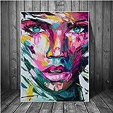 Rjunjie Abstrakte Bunte Mädchen Gesicht Leinwand Gemälde Poster und Drucke Moderne afrikanische Mädchen Wand Kunst Bilder Home Wall Decor (60 x 90 cm ohne Rahmen)