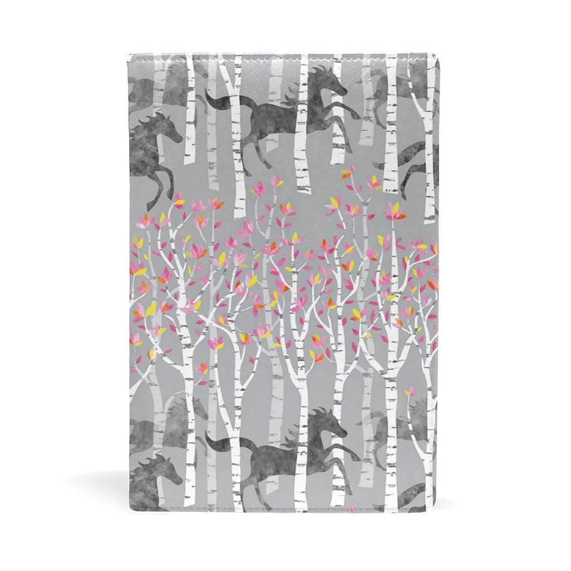 確率会話型受動的森の中の馬 赤い木の葉 ブックカバー 文庫 a5 皮革 おしゃれ 文庫本カバー 資料 収納入れ オフィス用品 読書 雑貨 プレゼント耐久性に優れ