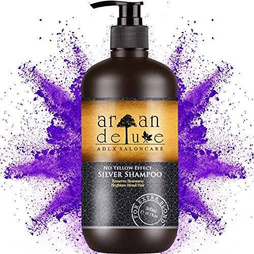 Argan Deluxe Silber-Shampoo in Friseur-Qualität 300 ml - QUALITÄTSSIEGER - effektive Hilfe bei Gelbstich durch No-Yellow-Effekt für seidig strahlende Farbe & edlen Silberton. Damen und Herren.