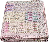 Twin / King Indian Bettdecke Ethnic Throws Patchwork Indian Quilt Cover Alte böhmische Seide Saree Kantha Tagesdecke Vintage Patola Quilt (White, Twin 60