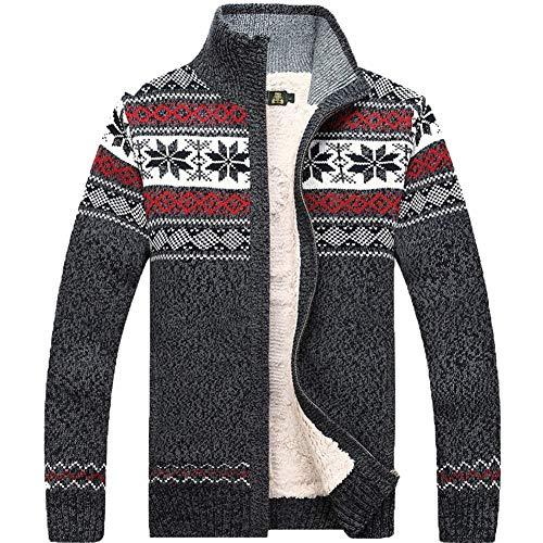 Kedera Fashion Winter Cotton Knitted Cardigan Men's Casual Thick Warm Sweater (Medium, Gray)