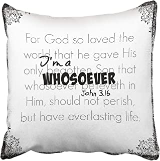 Im A Whosoever Bible Verse Quote John 3 16 Decorative Throw Pillow Case 18X18Inch,Home Decoration Pillowcase Zippered Pillow Covers Cushion Cover with Words for Book Lover Worm Sofa Couch