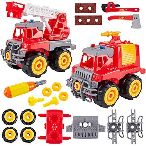 HERSITY 2 Piezas Camión de Bomberos Desmontar Coche Juguete con Maleta para Niños Niñas
