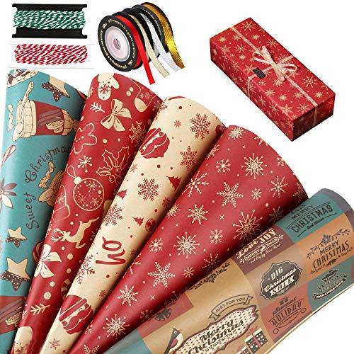 10 Hojas Papel para Envolver Regalos Navidad 75 x 51cm Papeles Envoltura de Colores + 4 Rollos Cintas y 2 Rollos Cuerdas