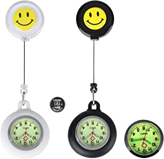 2 Set Paramedic Luminous Nurse Fob Watch for Nurses Doctors,Glow in Dark Clip On Retractable Unisex Digital Pocket Watches with Extra Battery,Medical Silicone Case