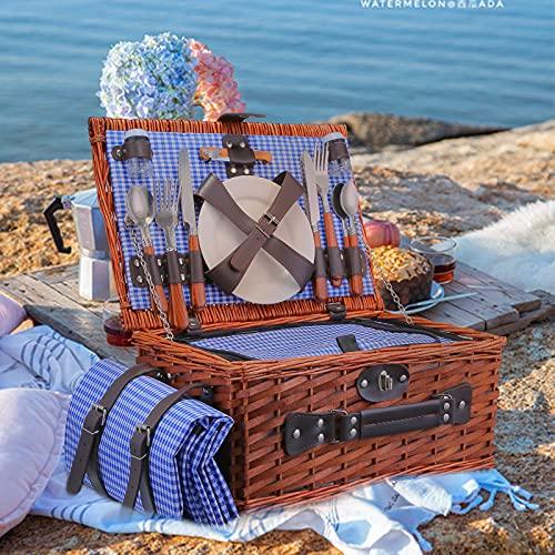 TTLIFE Picknickkorb Tragbar Picknickkorb aus Weiden für 4 Personen Handgemacht Picknickgeschirrkorb mit wasserdichter Picknickdecke,Geeignet für Picknicks und Camping am See,am Strand (Blau)