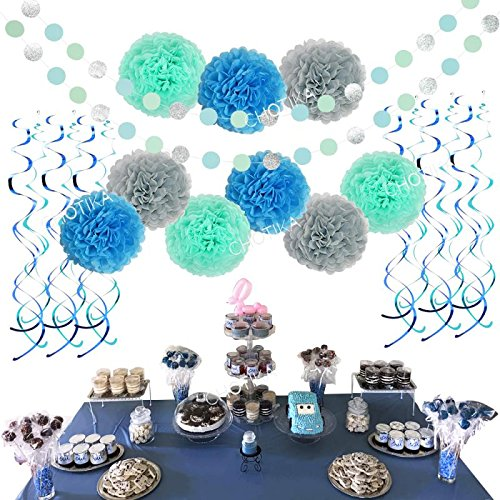 Tissue Paper Flowers Pom Poms Silver Glitter Circle Garland Hanging Swirls Party Decorations For Baby Shower