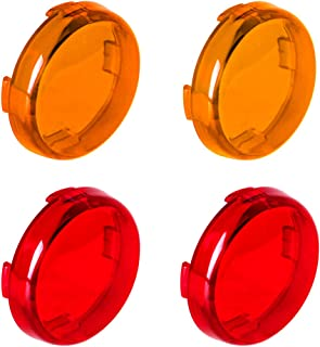 NTHREEAUTO Bullet Turn Signal Light Lens Cover Compatible with Harley Sportster Street Glide Road King Softail, Full Set, Amber, Red