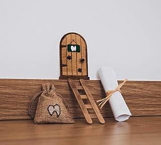 Puerta Ratoncito Pérez mágica con Carta, Escalera y Bolsita Para Diente de Leche. Regalo original niño niña Ratón Pérez. H...