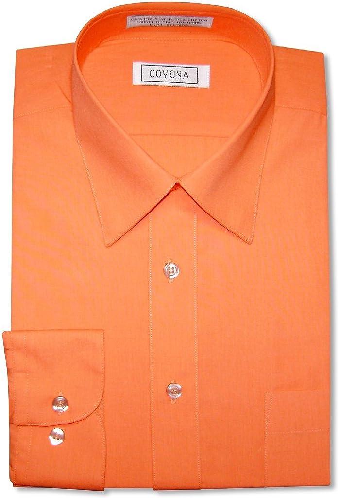 Men's Solid Burnt Orange Color Dress Shirt w/Convertible Cuffs