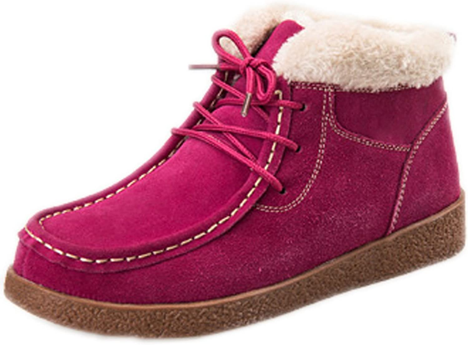 Barerun Women Suede Flat Platform Sneaker shoes Plus Velvet Winter Lace up Cotton Snow Boots