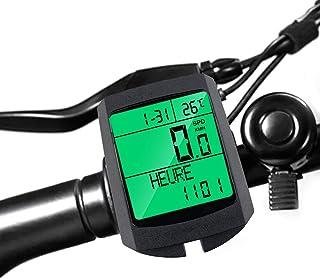 Locisne Ordinateur vélo,Multifonction sans Fil IP65 étanche vélo Compteur Vitesse Compteur kilométrique réveil Automatique...