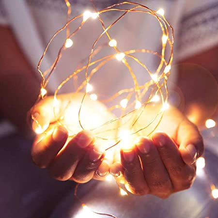 2Packs Fairy Lights Battery Operated,Svarog LED Fairy String Lights,16ft/5m 50LEDS Copper Wire String Lights for Bedroom,Indoor Garden Wedding Party Patio Home Christmas Decorations(Warm White)