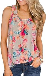 Domple Women Summer Sleeveless Racerback Floral Print Vest Blouse Tank Tops T-Shirts