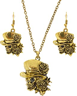 Das Kostümland Das Kostümland Day of The Dead Halskette mit Ohrringen - Gold - Trendiger Schmuck zum Piraten Kostüm für Halloween, Karneval und Mottoparty
