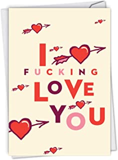 NobleWorks Heart and Arrow - Romantic Profanity Valentine's Day Card with Envelope - Adult Humor Vday Gift for Wife, Husband C6941VDG