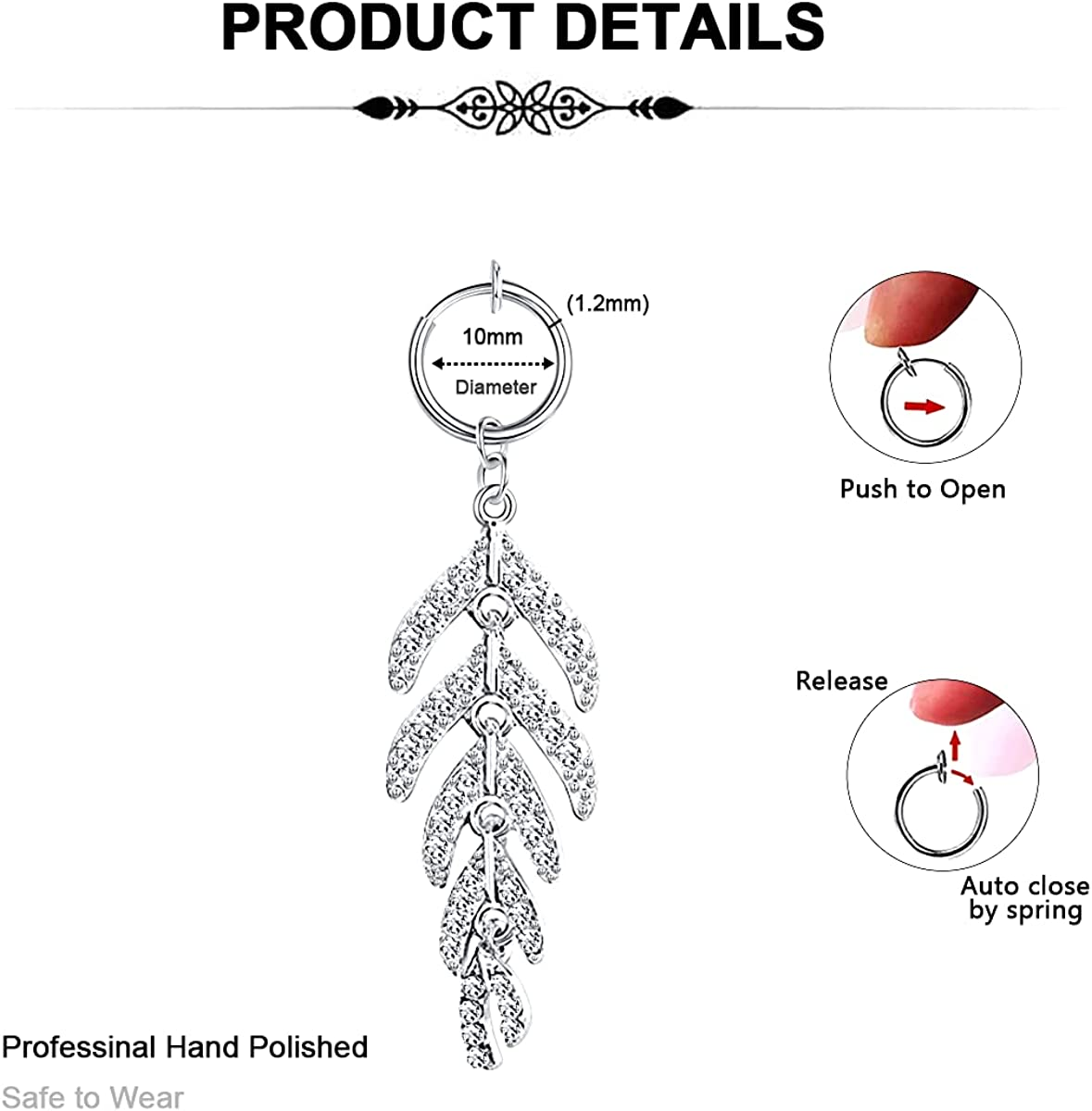 DVIIDO Fake Belly Button Rings - Clip on Belly Button Rings - Stainless Steel Faux Belly Button Piercing - Non Piercing Belly Piercing Jewelry