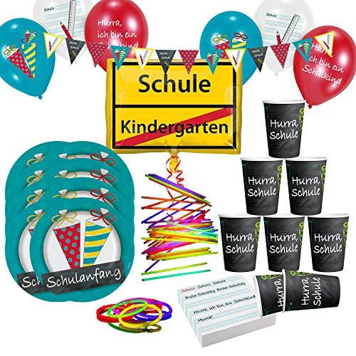 Krause & Sohn Set de fiesta de cumpleaños para niños, muchos artículos de vajilla, decoración de mesa de cumpleaños (escuela)