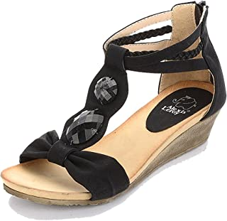 Alexis Leroy Women Artificial Diamond T-Straps Wedge Heel Sandals