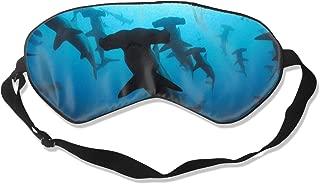 Travel Airplane Rest Sleeping Masks - Washable Mulberry Silk Eye Mask Hammerhead Sharks, Super Soft 99% Blindfold Eye Cover with Adjustable Strap for Men Women Kids