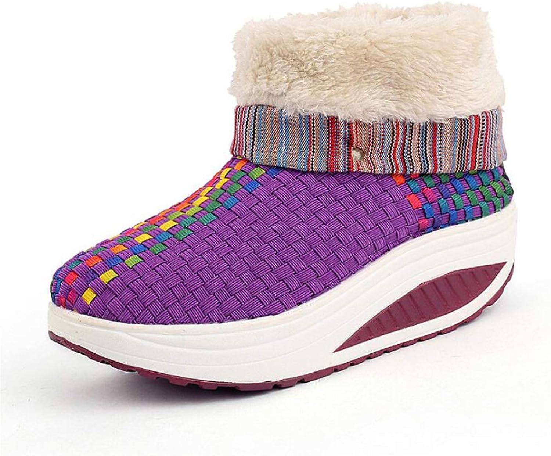 Zxcvb Women's Outdoor Warm shoes Winter High Help Plus Velvet Warm Woven Women's shoes Sports Rocking shoes Women's Casual shoes
