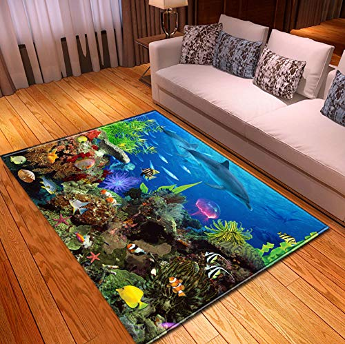 Kids Toy Mat, Cartoon Underwater Seaweed Dolphin Coral Fish Printed Rug, Living Room Corridor Balcony Decoration 160x230cm