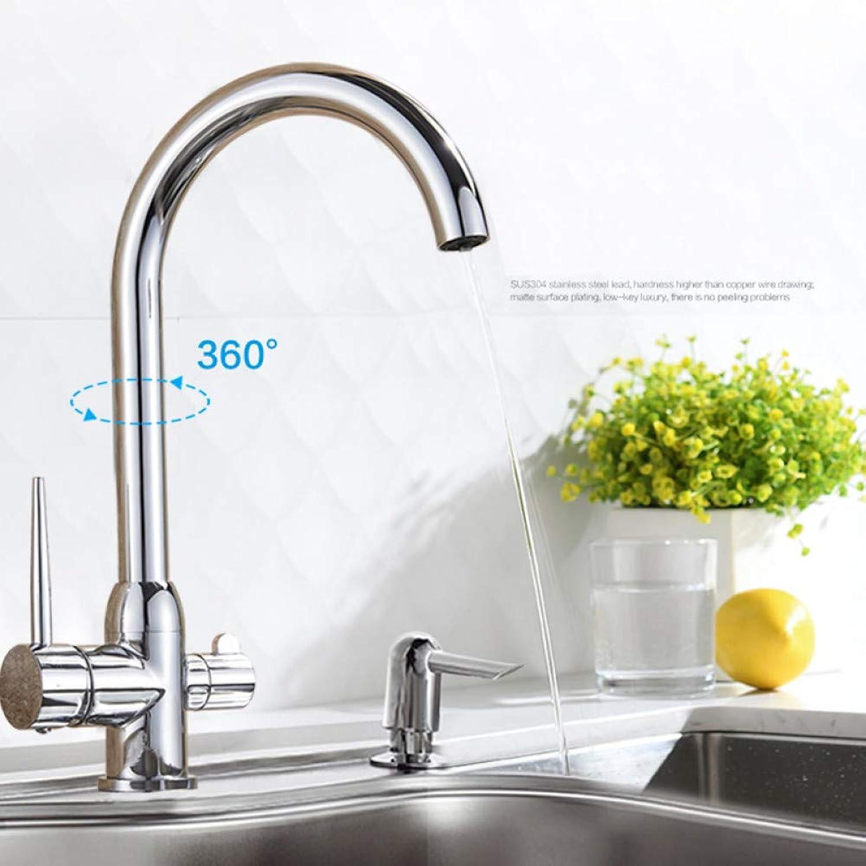 KLYBFN Wasserfilterhhne Küchenarmaturen Doppelgriff-Plattform-Mischbatterie 360-Grad-Rotation Wasseraufbereitungsfunktion Kran