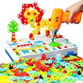 Mould King 239Pcs Drilling Toy for Kids Mosaic Drill Puzzle Screwdriver Tool Play Set S T E M Education Engineer Building Block Peg Board for Age 3 4 5 6 7 8 Year Old Preschool Boys Girls Gift