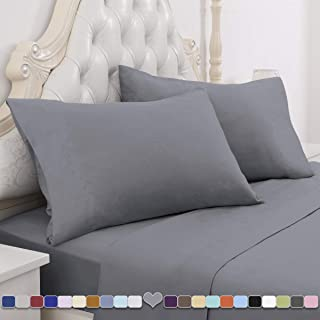 HOMEIDEAS 4 Piece Grey Sheets Set (Queen, Gray) 100% Brushed Microfiber 1800 Bedding Sheets - Deep Pockets, Wrinkle & Fade Resistant