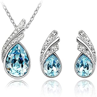Angie 'Tears of Angel' Water Drop Necklace Earring Set Made with Blue Swarovski Element Crystal Jewelry and Cubic Zirconia...