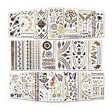 Temporäre Tattoos (Waterproof), 20 Blatt Tattoo aufkleber festival, (400+ Designs) Gold Festival Ausrüstung, Festival Armbänder für Frauen, Mädchen by AniSqui