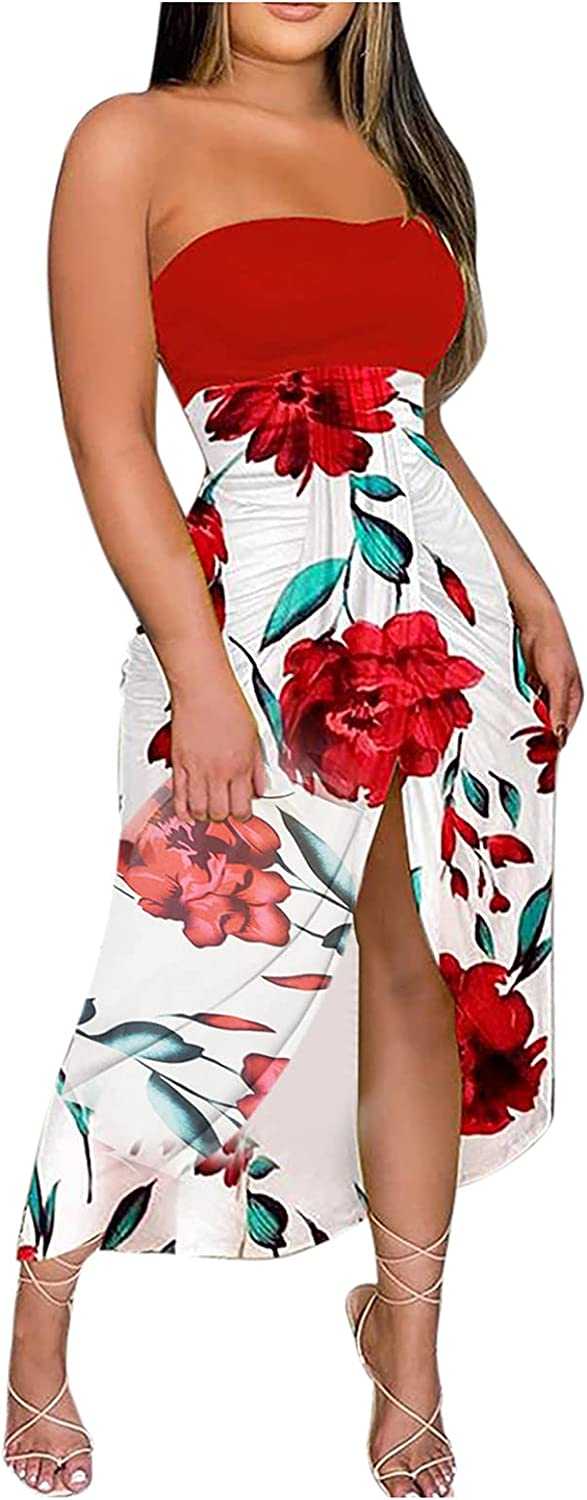 Women Summer Dresses Sleeveless Off Shoulder Tube Top Floral Print Dress Night Party Club Sexy Bodycon Maxi Slit Dress