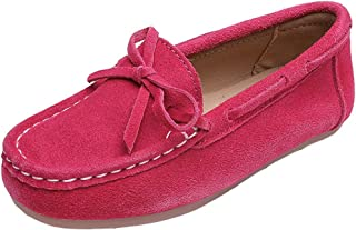 iDuoDuo Girls Cute Bow Soft Soled Casual Loafer Shoes School Moccasin Suede Flats (Toddler/