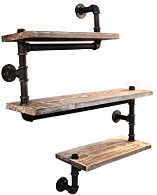 Reclaimed Wood & Industrial Heavy Duty DIY Pipe Shelf Shelves Steampunk Rustic Urban Bookshelf Real Wood Bookshelves and book