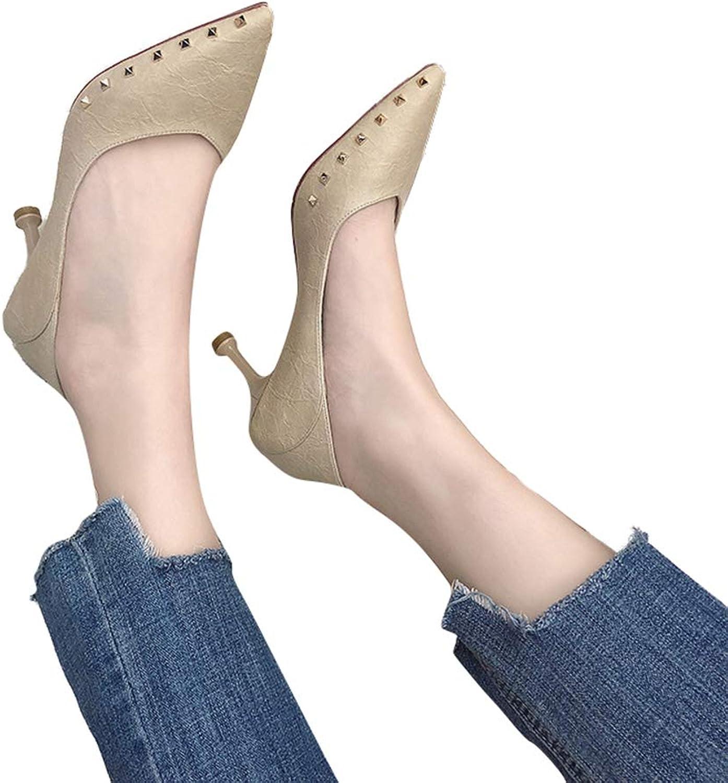 Sam Carle Women's Pump,Spring Stylish Classic Rivet Kitten Heel Beige Black Non-Slip shoes