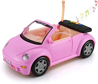 Convertible Car for Dolls (Great for Dolls), Glittering Magenta Convertible Doll Vehicle with Working Seat Belts