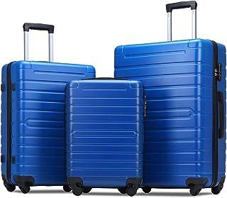 Flieks Luggage Sets 3 Piece Spinner Suitcase Lightweight 20 24 28 inch (Blue Color)