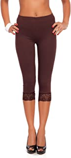Cropped 3/4 Lenght Cotton Leggings with Lace