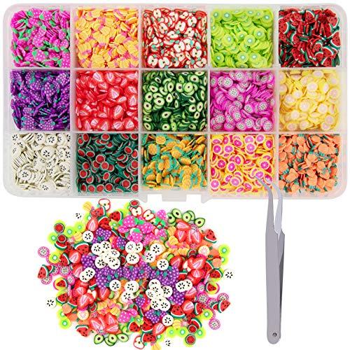 Duufin 10500 Fette di Nail Art Frutta Fette con 1 Pezzi Pinzetta per Unghie Slime DIY Decorative