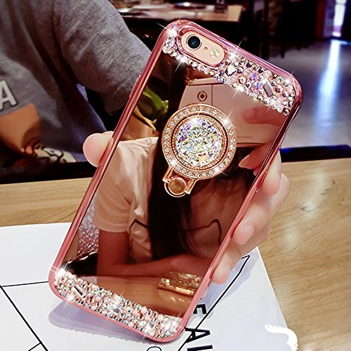 Price comparison product image Inspirationc iPhone SE Case,  Crystal Rhinestone Mirror Glass Case Bling Diamond Soft Rubber Makeup Case for iPhone 5 / 5S / SE with Detachable 360 Degree Ring Stand-Rose Gold