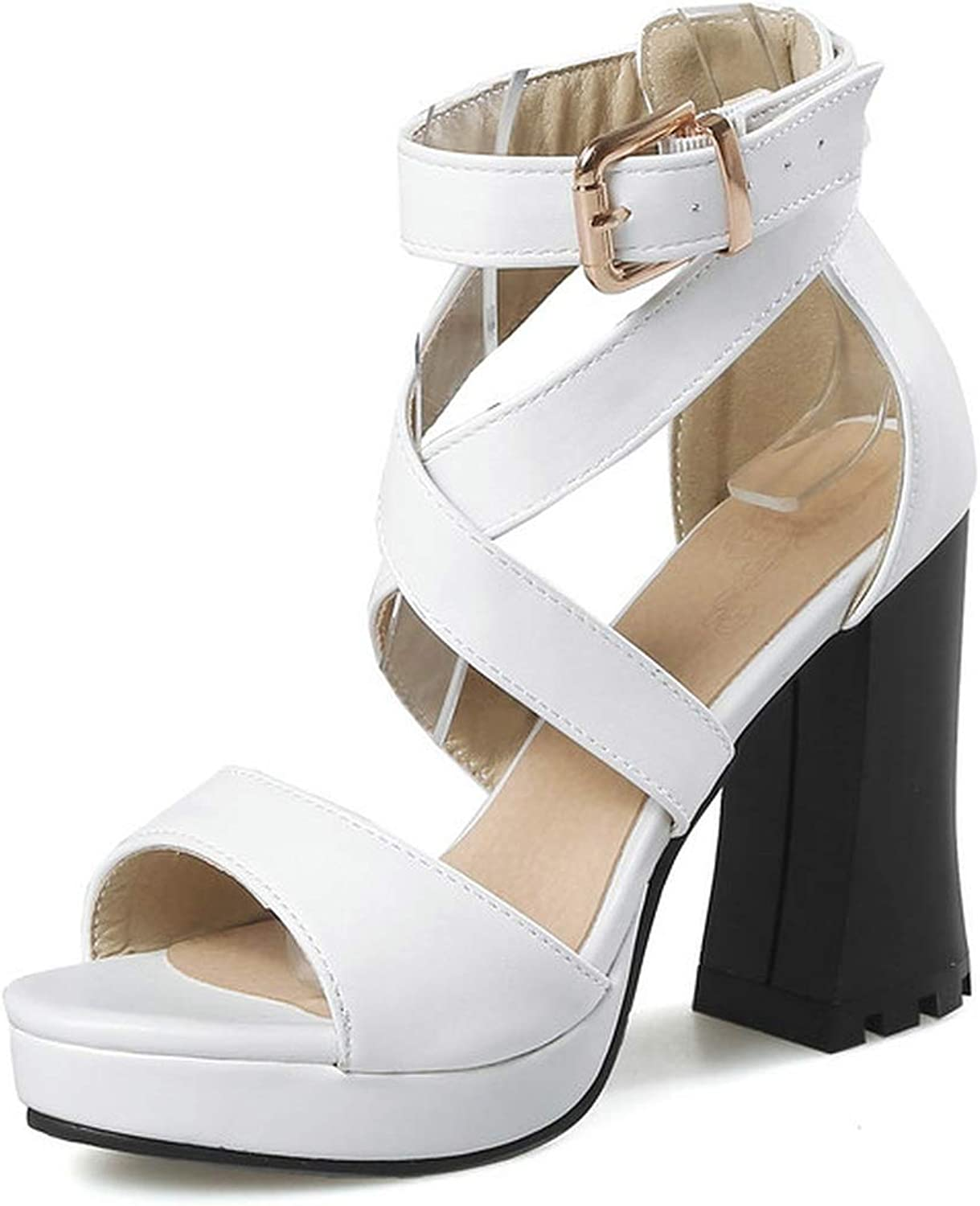 Women Sandals Pu Leather Square High Heel All Match Women shoes,