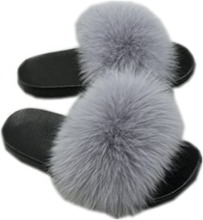 Women Real Fur Feather Leather Open Toe Single Strap Slip On Sandals