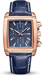 MEGIR Men Watches with Leather Strap, Luminous Rectangular Analog Quartz Wrist Watch Hour for Man