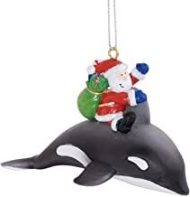 Cape Shore Santa Claus Riding Orca Whale Delivering Gifts Christmas Holiday Ornament