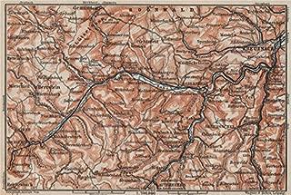 NAHETAL. Idar-Oberstein Kirn Monzingen Rüdesheim Kreuznach Sobernheim - 1906 - old map - antique map - vintage map - Rhineland-Palatinate map s