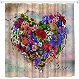 XCBN Cortina de Ducha de corazón de Flores románticas Tela Impermeable decoración de baño Cortina de Ducha de baño Lavable A1 180x200cm