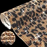 12000 Pieces Leopard Print Bling Rhinestone Sticker with 2 mm Rhinestone Crystal DIY Car Sticker Self-Adhesive Crystal Leopard Pattern Stickers for Arts Crafts, 9.4 x 7.9 Inch (Brown Leopard Print)